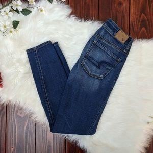 AE super stretch skinny medium wash jeans